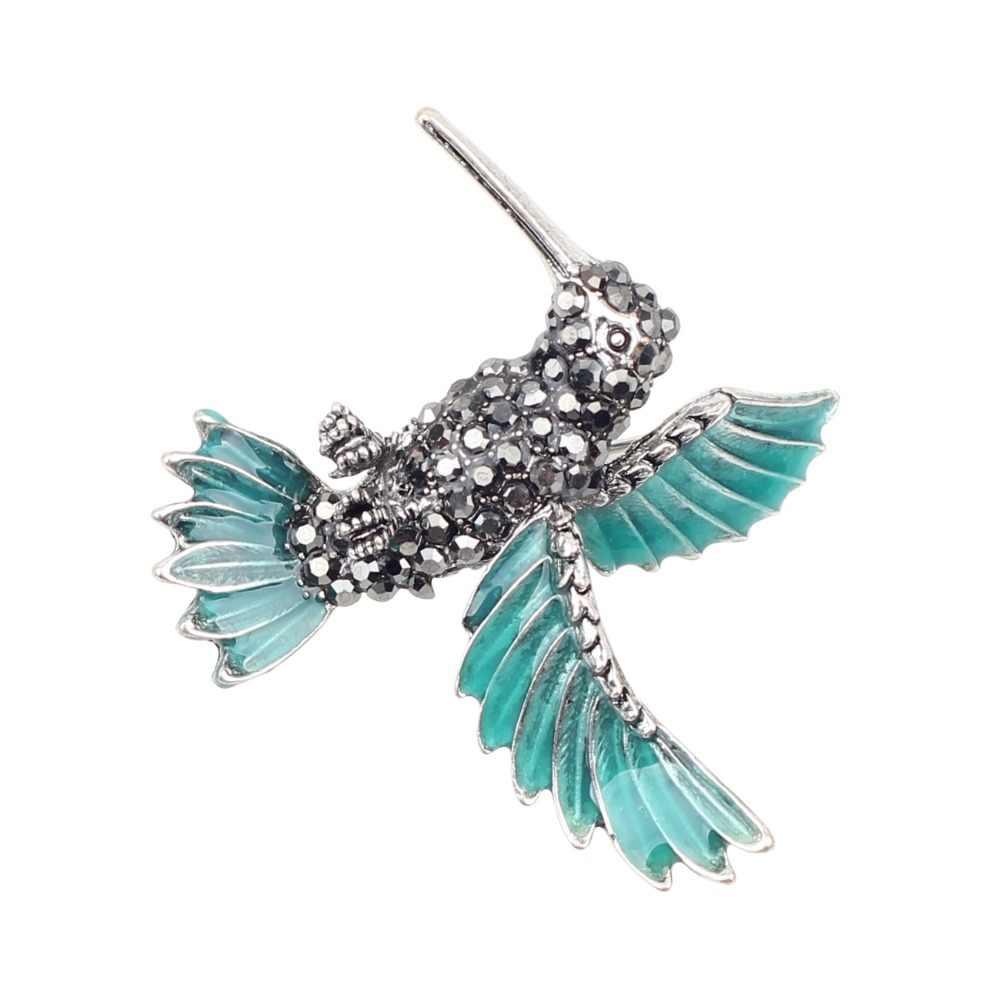 WEVENI Enamel Paduan Hummingbird Hummer Bros Berlian Imitasi Pin Untuk Pakaian Wanita Syal Dekorasi Perhiasan Wanita Aksesoris Massal