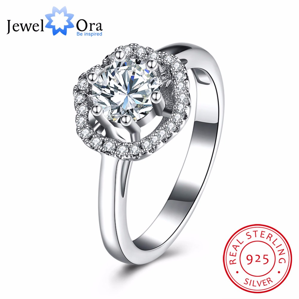 Solid 925 Sterling Silver Engagement Ring Luxurious Zircon Accessorise Fashion Jewelry Party Rings For Women (JewelOra RI102657)