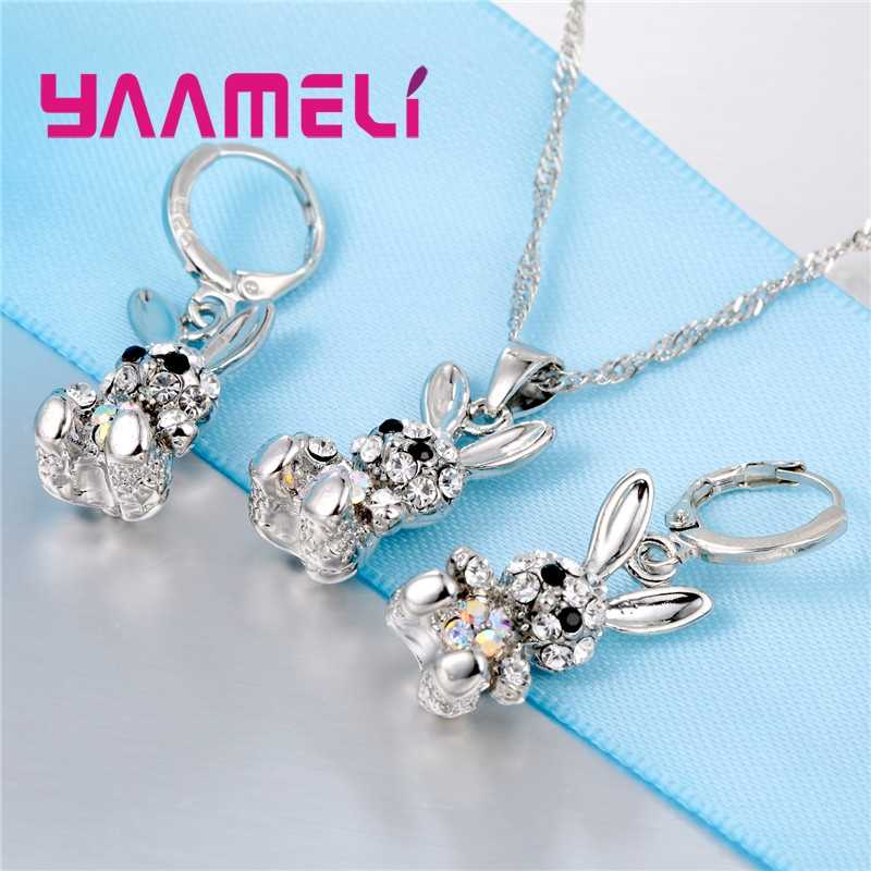 Lovely Cute Rabbit Gifts for Women Girls 925 Sterling Silver Jewelry Sets AB Colored Cubic Zircon Necklace Dangle Earrings
