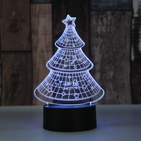 Christmas Tree 3D Night Light 7 Color Changing Touch Usb Table Lampara Lampe For Kids Baby