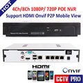 1U 4CH 8CH Onvif Full HD 960P/1080P 48V Real PoE NVR All-in-one Video Recorder For PoE IP Camera P2P Cloud Full HD Recording