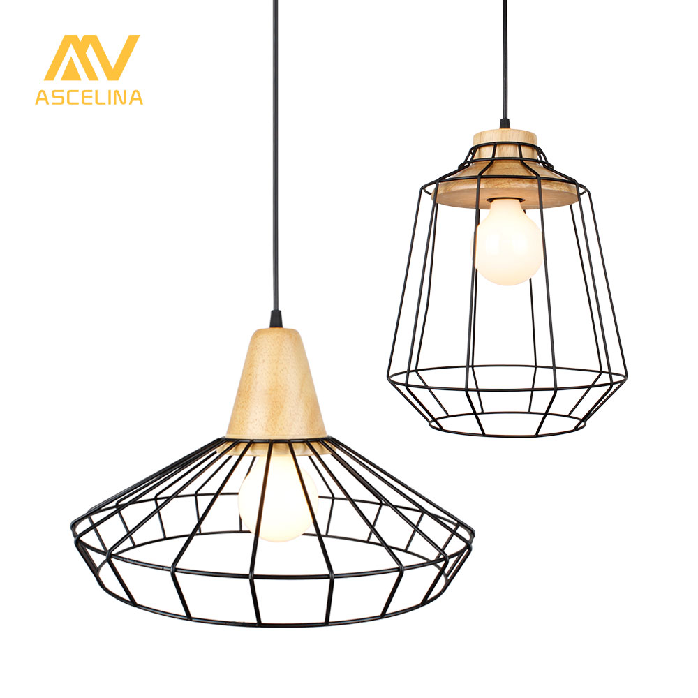 Wood Pendant light Retro Loft Hanging lamp iron cage lampshade pendant bar coffee dining room ASCELINA LED lighting fixtures