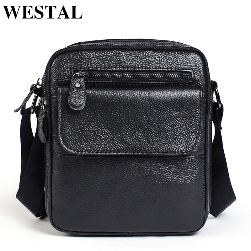 WESTAL Men's Bag Genuine Leather Shoulder Bags Male Fashion Messenger Bag Men Zipper Crossbody Bags Small ipad Male Flap 1106 westal crossbody bags shoulder bag men genuine leather messenger bag zipper cell phone pocket black business small bags 1023