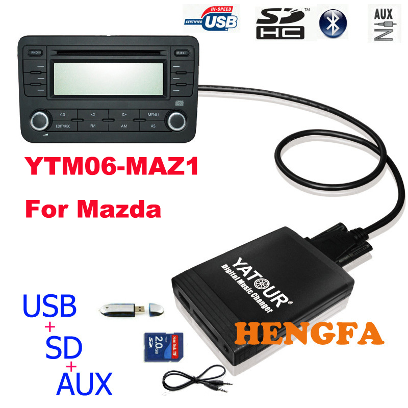 Yatour Car Digital Music Changer USB MP3 AUX adapter For Mazda 3/5/6 Miata/MX5 MPV 2003-2008 yt-m06 Audio Car MP3 Player кольца