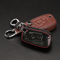 Car styling,genuine leather key chain ring cover 3 Buttons fold for FIAT Panda Stilo Punto Doblo Grande Bravo 500 Ducato Minibus
