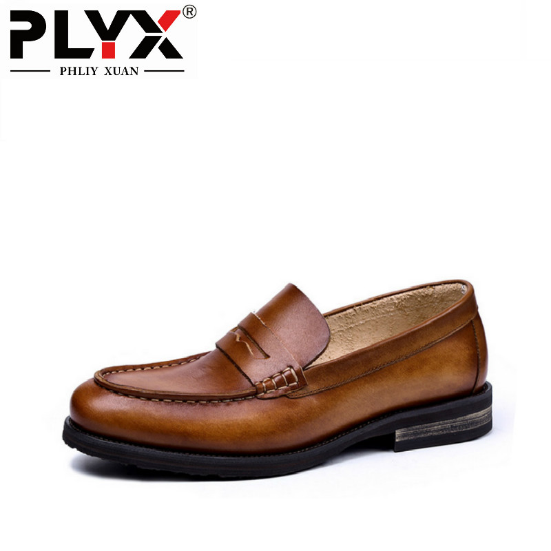 PHLIY XUAN British Style New 2018 Men Loafers Genuine Leather Mens Casual Shoes 100% Handmade Chaussure Homme De Marque 2018 new fashion hot sale mens casual shoes flat loafers male footwear british vintage chaussure homme de marque large size 44