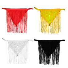 Mens Sexy Lingerie G-String T-Back Solid Color See Through Underwear Long Fringe Tassels Briefs Low Waist Bulge Pouch Thongs(China)