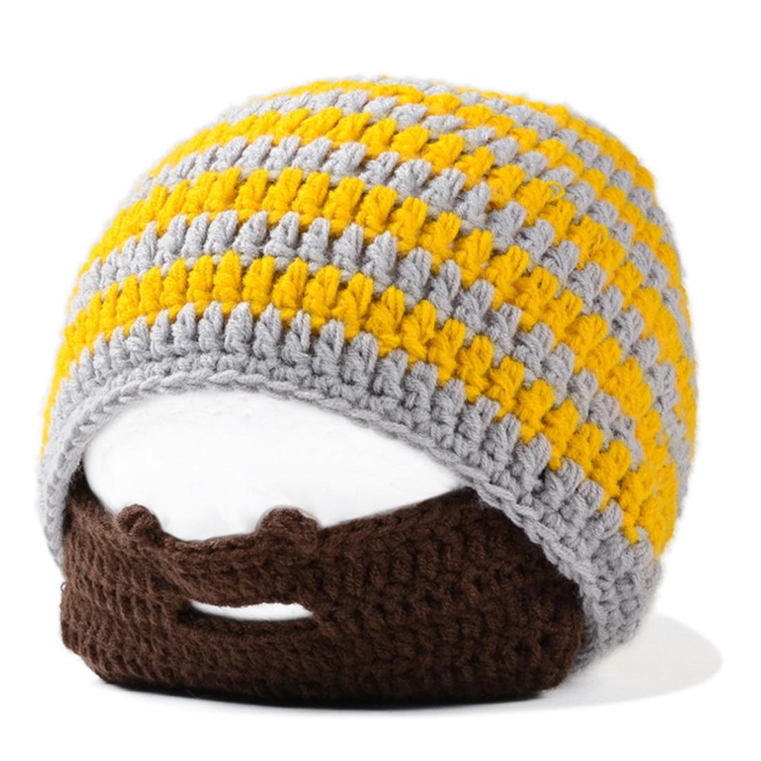 eca4a78ad9c07 MYPF-Handmade Knitted Crochet Beard Hat Bicycle Mask Ski Cap roman knight  octopus Cool Funny