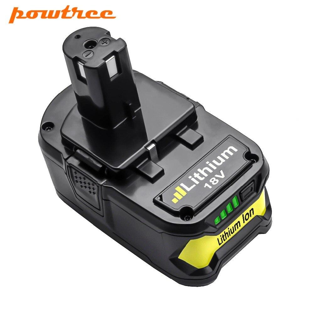 Powtree pour Ryobi 4000 mAh 18 V P108 Li-Ion Rechargeable batterie outil de remplacement RB18L40 P107 P104 BIW180