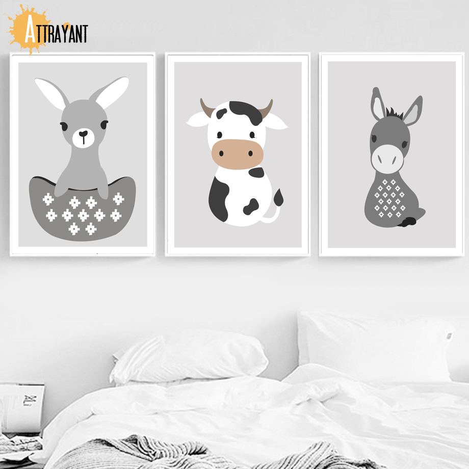 Deer Cow Donkey Wall Art Canvas Painting Nordic Posters And Prints Wall Pictures For Bedroom Kids Baby Boy Girl Room Home Decor
