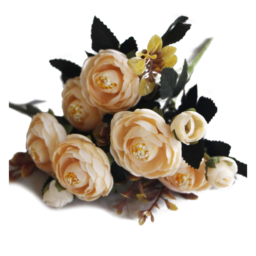 1 Bouquet 9 head Artificial Silk cloth Fake Flowers Leaf Peony Floral Home Wedding Party Decor