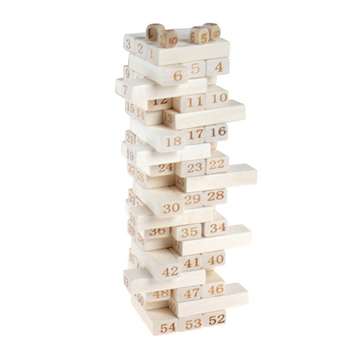 54pcs stacked high digital building blocks Jenga layer cascading pumping intellectual children's wooden toys