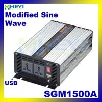 Modified Sine Wave Inverter 1500W with USB input 12VDC 24VDC 48VDC output 110VAC 220VAC solar micro inverter