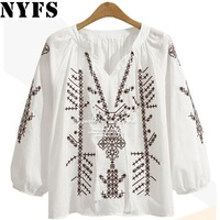 NYFS 2017 Autumn Women Blouses Long Sleeve Shirts Embroidery National Wind Shirt Casual Women Large Size