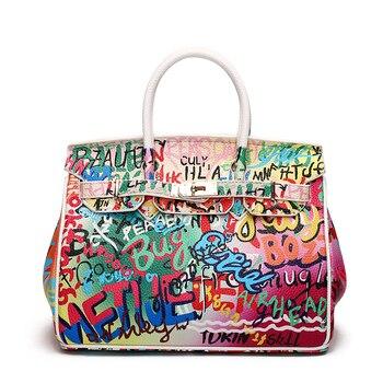 4d559890d 2019 nueva moda Graffiti mujeres bolsas de hombro mango superior bolsos  Messenger bolsas bolsos de las señoras bolsos de cuero de S151