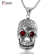 Punk Men Necklace Pendant Stainless Steel Gothic Skull Hallowmas Party Jewelry 24