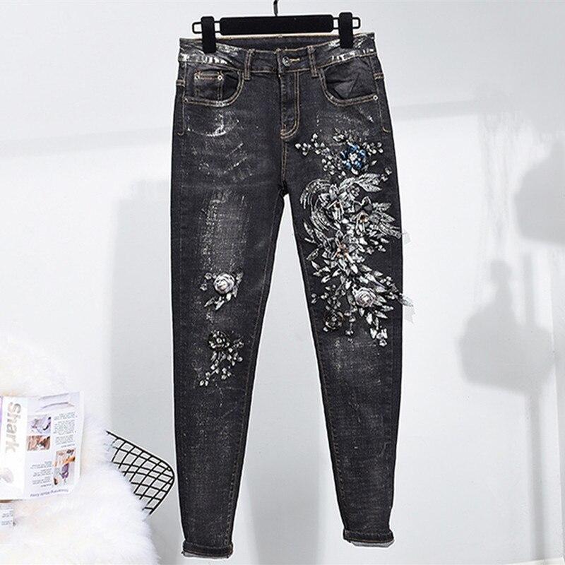 Del Sequined Femenino Cordón Lápiz Elástico Slim Negro Denim Skinny Muchachas Jeans Jean Stretch 3232 Casual Pantalones Flacos CZzBqwO