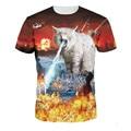 Hombre de las camisetas de la moda 2016 Cat T-shirt espacio Llightning impresión 3D T Shirt hombres mujeres Casual gato Animal Tee Tops camisetas divertidas