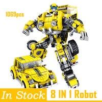 6 in 1 Compatible Legoing Deformation hornet creator mecha robot sets city building blocks model kids toys Gifts bumblebee