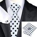 SN-1057 Negro Blanco Dot Corbata Hanky Gemelos Juegos de Los Hombres 100% Corbata de Seda para hombres Formales Del Banquete de Boda Del Novio