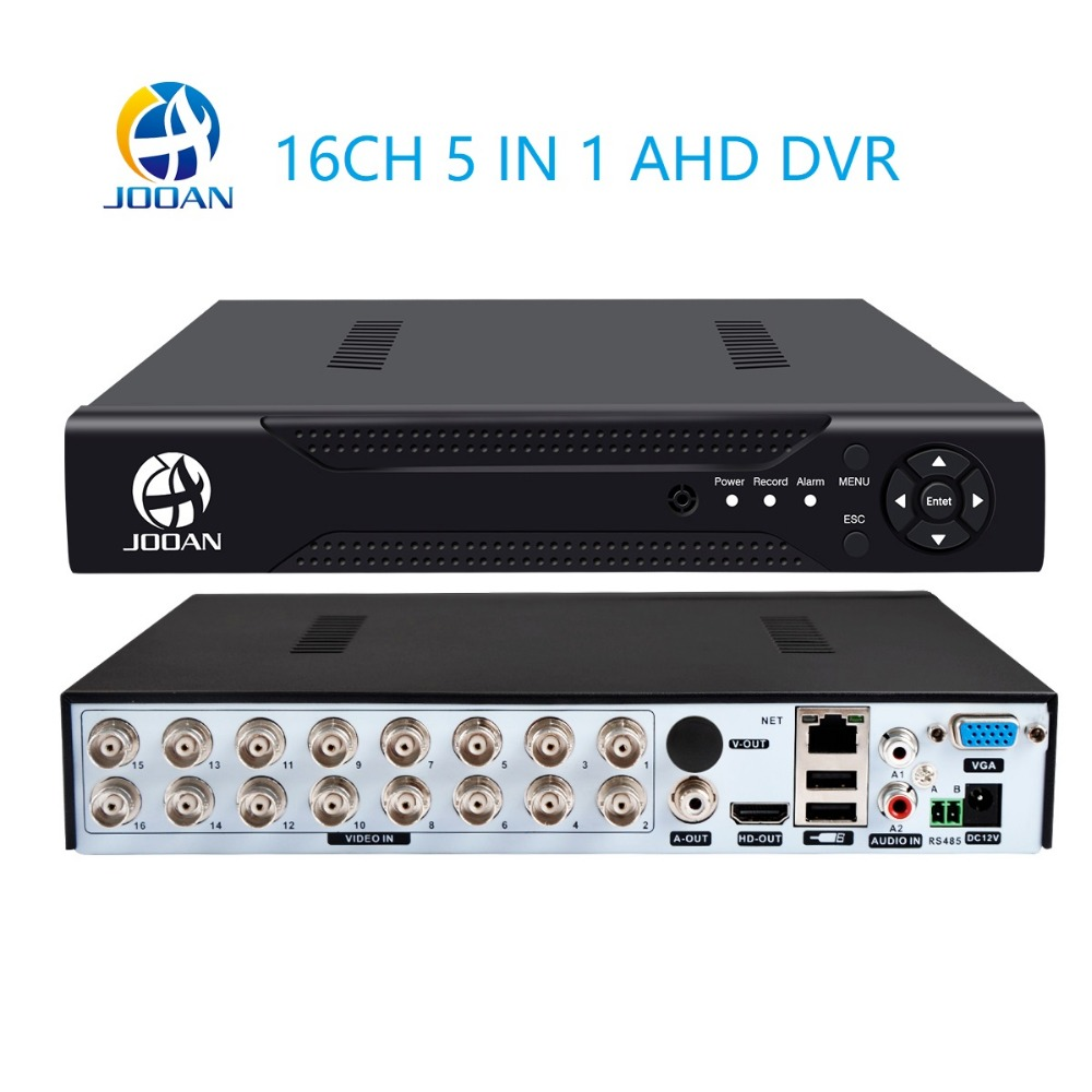 Jooan DVR support CVBS TVI AHD Analog 16CH 5in1 AHD IP Cameras HD P2P Cloud H.264 VGA HDMI AHD CCTV DVR Recorder Video Audio 16ch 5in1 ahd dvr support cvbs tvi ahd analog ip cameras hd p2p h 264 vga hdmi 2 hard disk bit video recorder rs485 audio