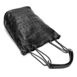 Image 3 - FGGS 2 Pcs/set Fashion Skull Women Handbag Shoulder Bag Tote Purse Leather Crossbody Bag With Silk Female Black Handbags