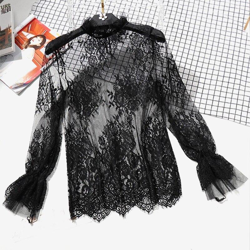 Женская прозрачная блузка с длинным рукавом, кружевная блузка с воланами, черная Весенняя блузка, 2020