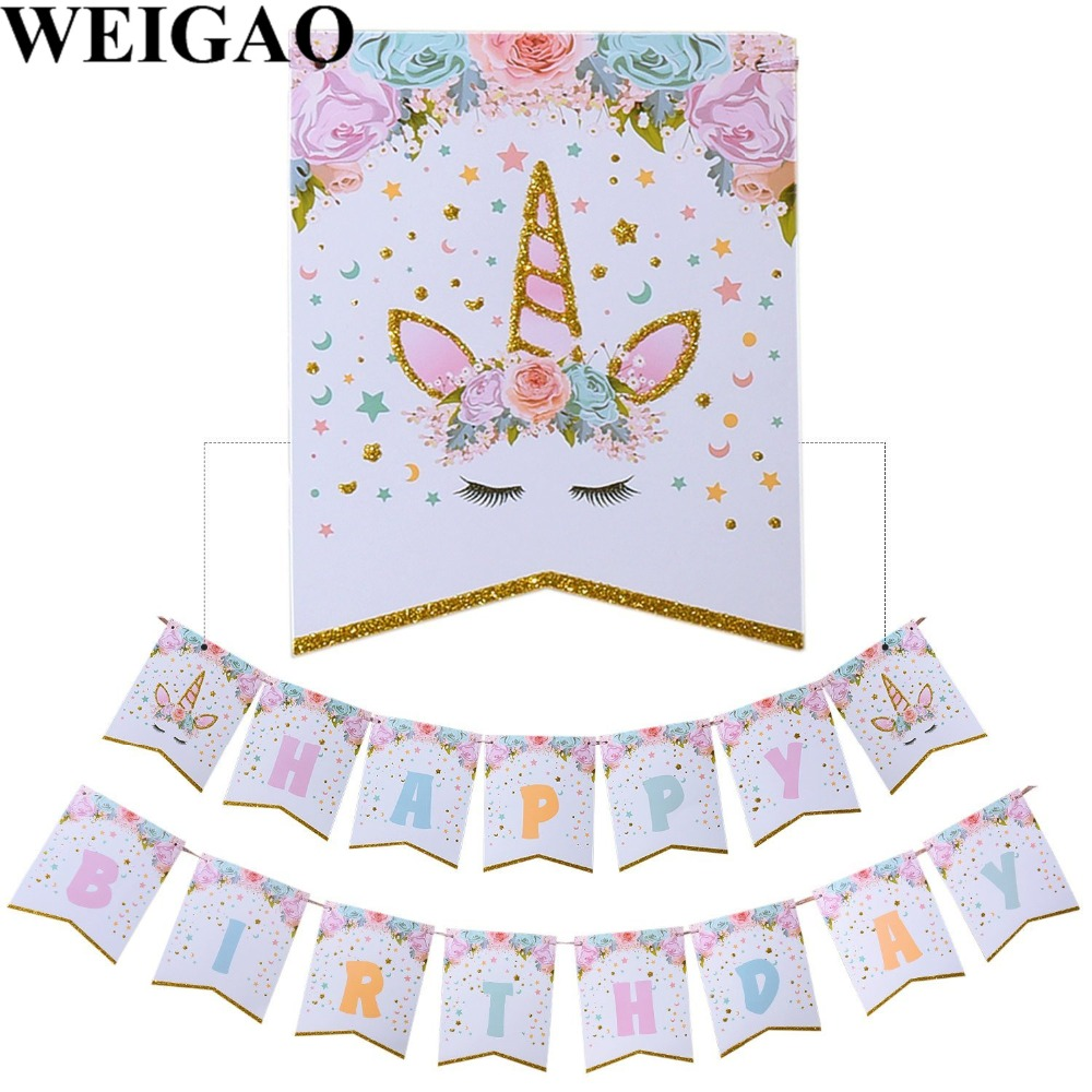 WEIGAO Birthday Party Banner Unicorn Party Bunting Flags Kids Happy Birthday Party Supplies Baby Shower Glitter Unicorn Banners ...