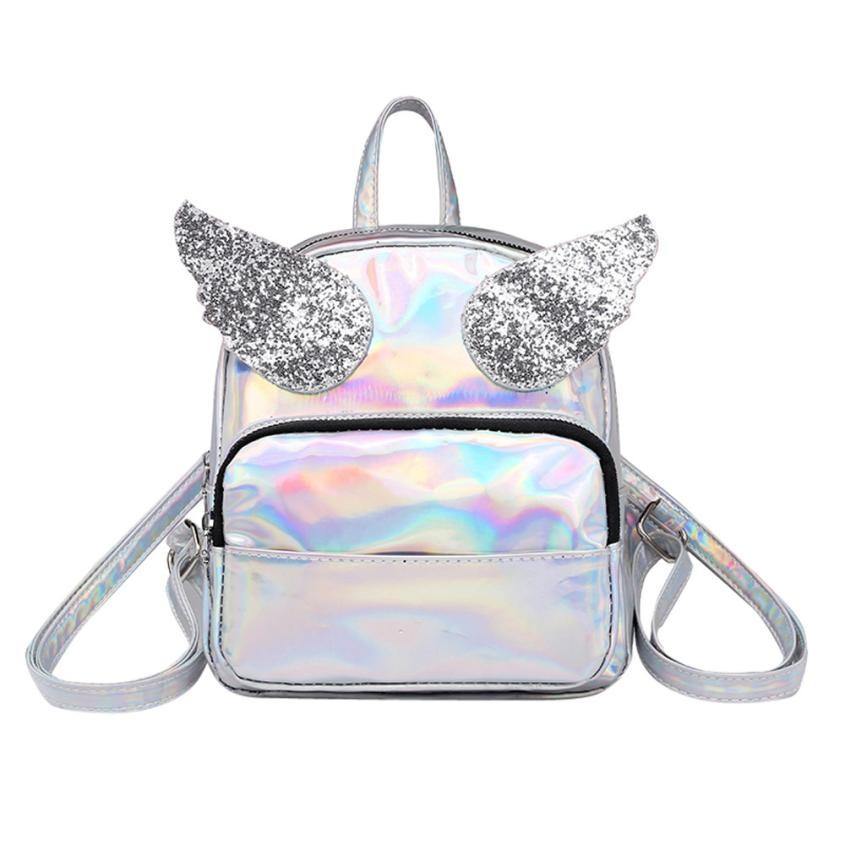 New Backpack Female Wing Small Backpack Mini Silver Bagpack Leather Schoolbag Travel Girl Mochila Feminina #410