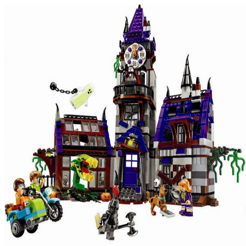860pcs Bela 10432 Scooby Doo Mysterious Ghost House Building Block Toys Compatible Any Blocks Legoe 10432 scooby doo mysterious ghost house mode building blocks educational toys 75904 for children christmas gift legoingse toys