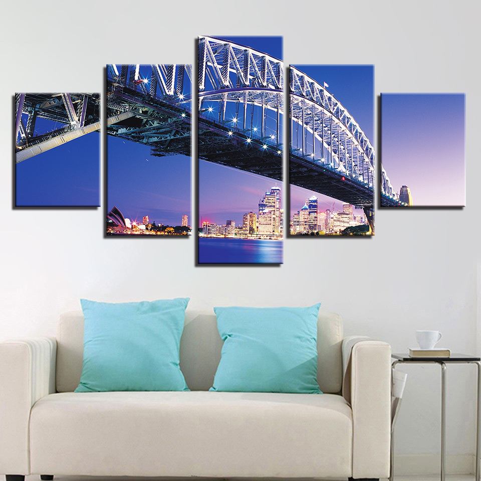 Top-Rated Canvas Print Poster Home Decorative Wall Art 5 Pieces Seaside City Building Harbor Nightscape Paintings Framework
