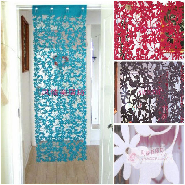 Unique Hollow Art Paper Cut Style Door Curtain Blanket Mesh Kitchen Window  Curtains 4 Color