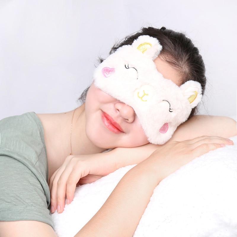 Sleeping Mask Eyepatch Soft Eye Mask Cartoon Travel Alpaca Flash Sloth Plush Mask Toys Cute Llama Relaxing Blindfold Gift