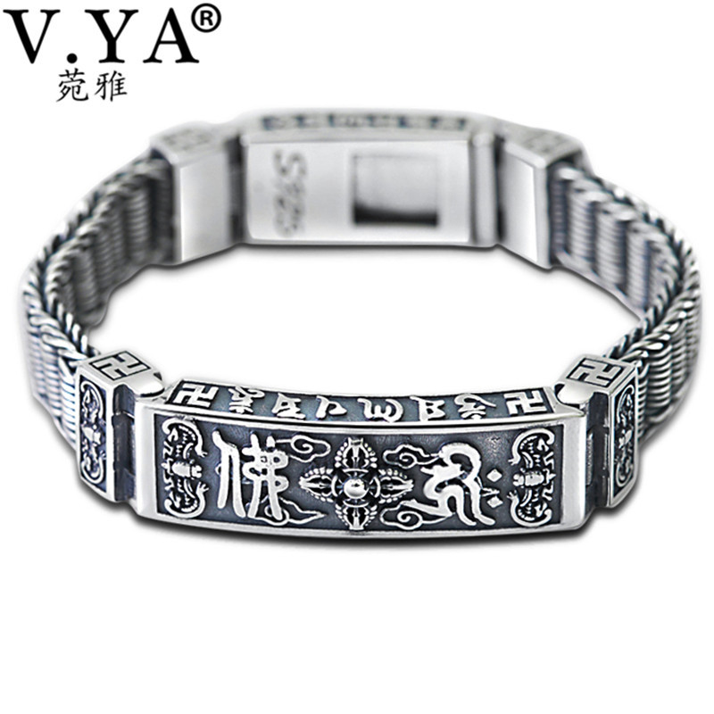 V.YA Solid 925 Thai Silver Heavy Bracelet for Men Male S925 Sterling Silver Bangles Bracelets Mens Jewelry Birthday Gift v ya vintage thai silver men bracelets bangles 925 sterling silver mens bracelet bangle cuff fine jewelry