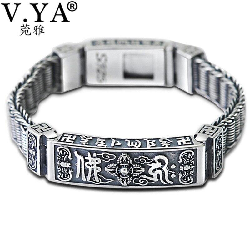 V. YA Solide 925 Thai Argent Lourd Bracelet pour Hommes Mâle S925 Sterling Argent Bracelets Bracelets Hommes Bijoux Cadeau D'anniversaire