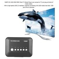 New DC5.6V 1080P HD USB VGA Multi TV Media Videos Player Box TV videos Box MMC RMVB MP3 (EU Plug) USB 2.0 support SATA Disk