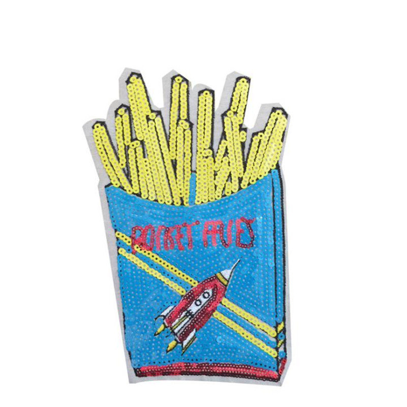 T shirt Women sequins patches for clothing 225mm french fries patch deal with it 3d t shirt mens Christmas gift Diy stickers