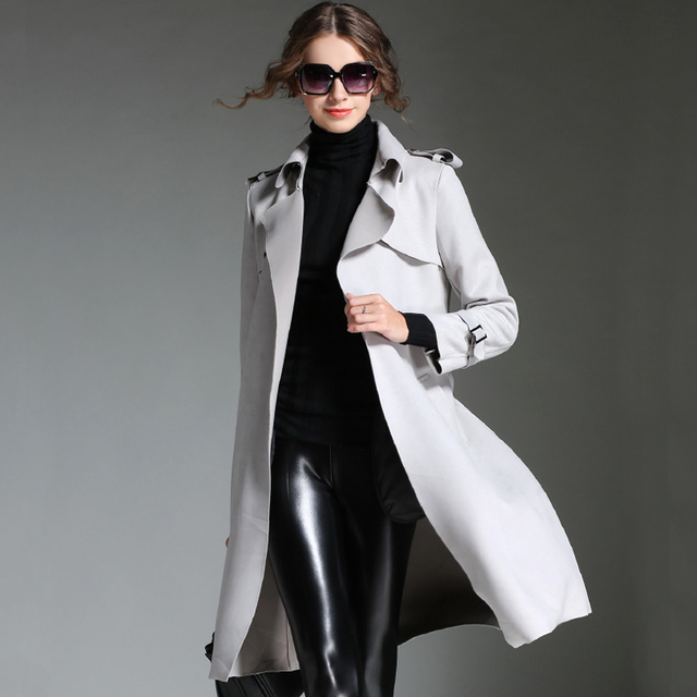 Mulheres longo fino trench coat 2015 chegada nova moda polares Suede inverno casacos cardigan vintage windbreaker belt OM102