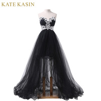 2015 New Elegant Strapless Appliques Short Front Long Back Prom Dresses Party Evening Gown Black Runway