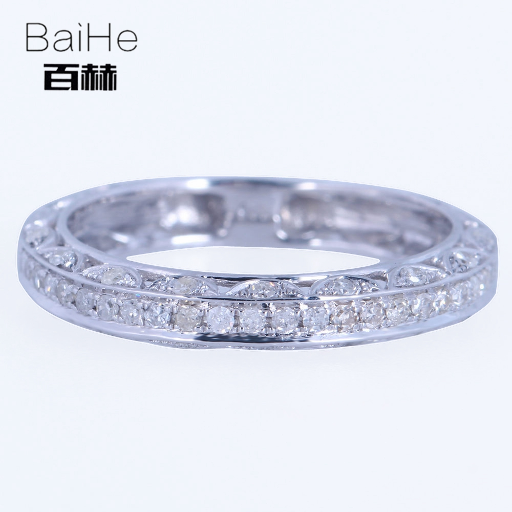 BAIHE Solid 14K White Gold(AU585)0.3CT Certified H/SI Round CUT Genuine Natural Diamonds Wedding Women Trendy Fine Jewelry Ring BAIHE Solid 14K White Gold(AU585)0.3CT Certified H/SI Round CUT Genuine Natural Diamonds Wedding Women Trendy Fine Jewelry Ring