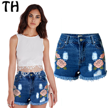 2016 Flower Embroidered High Waist Shorts Korte Broek Women Elastic Summer Ripped Jeans Short Taille Haute Blue Denims #160739