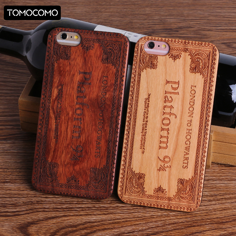TOMOCOMO Harry Potter Hogwarts Pattern Design Real Wood Phone Cases Cover for Iphone 7 6 6S 8 Plus X SAMSUNG S8 S9Plus Fundas