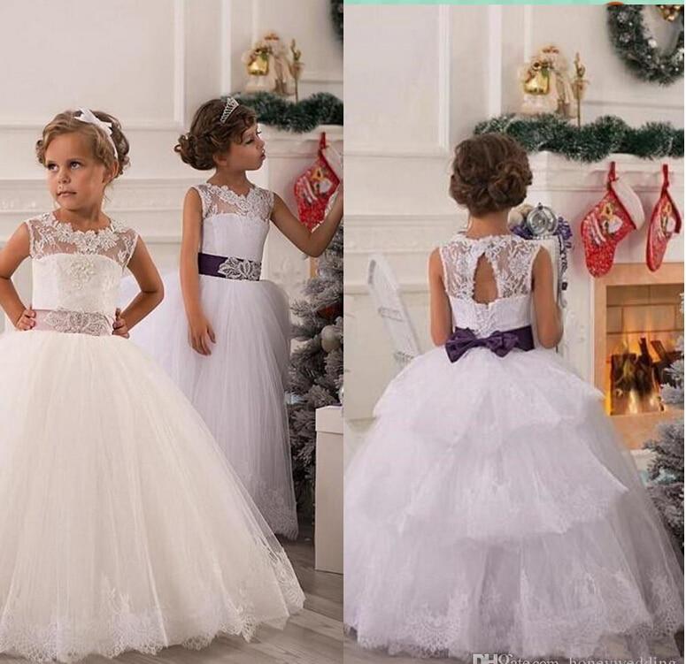 Ivory 2018 Flower Girl Dresses For Weddings Ball Gown Cap Sleeves ...
