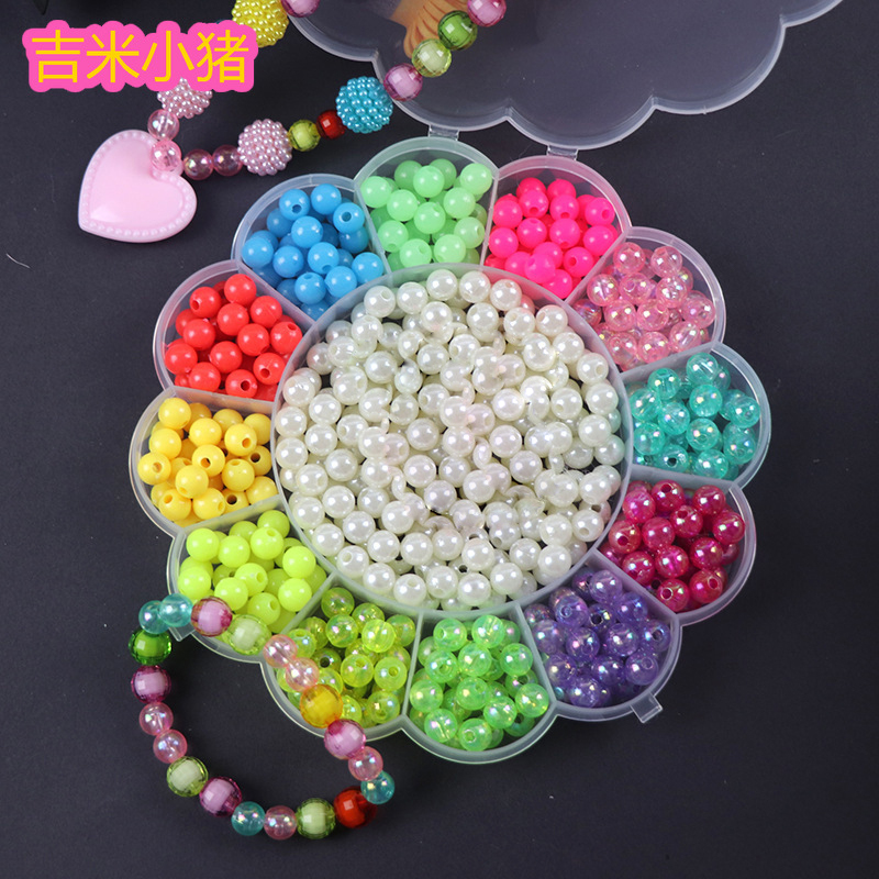 400pcs DIY Round Beads Toys For Children Handmade Diy Bracelet Necklace Colorful Acrylic Bead Kids Girl Gift 2019 Free Shipping