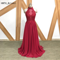 Long Burgundy Chiffon Bridesmaid Dresses Elegant A Line High Neck Backless Lace Top 2018 African Prom