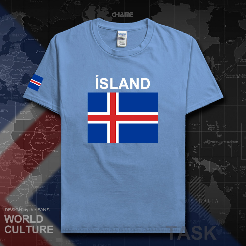 Iceland mens t shirts 2017 jerseys nation team tshirt 100% cotton t-shirt clothing tees country sporting ISL Icelander Icelandic