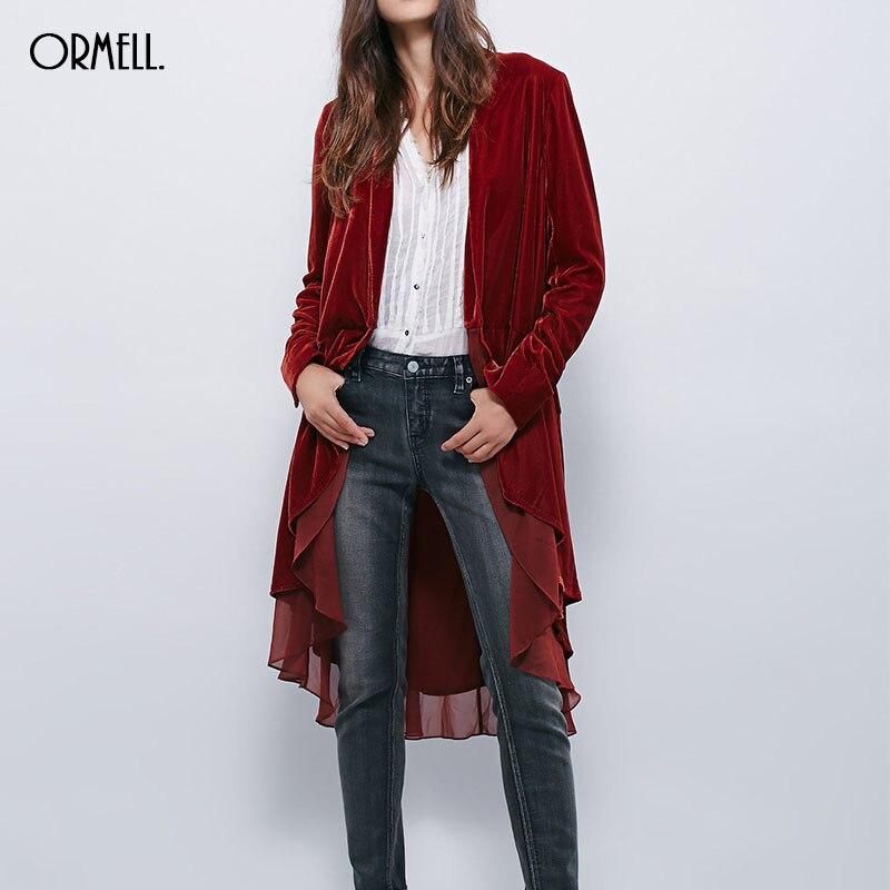 ORMELL Women Solid Velvet Long Trench Coat Chiffon Patchwork Ruffles Open Stitch Long Sleeve Coats Casual Streetwear Tops