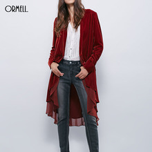 ORMELL Women Solid Velvet Long Trench Coat Chiffon Patchwork