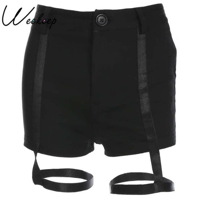71747c83 US $9.95 53% OFF|Weekeep Sexy czarne szorty damskie wysoka talia Party klub  Bodycon kobiet szorty 2018 lato krótkie Feminino spodnie dresowe w ...