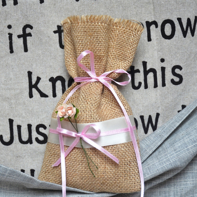 20pcs Shabby Chic Wedding Party Favor Bags Rustic Burlap Bridal Gift Candy Bag